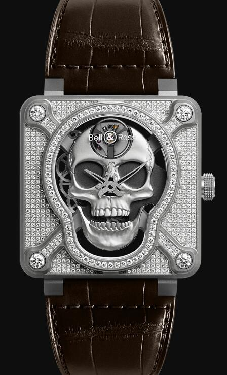Bell & Ross BR 01 LAUGHING SKULL FULL DIAMOND BR01-SKULL-SK-FLD Replica Watch